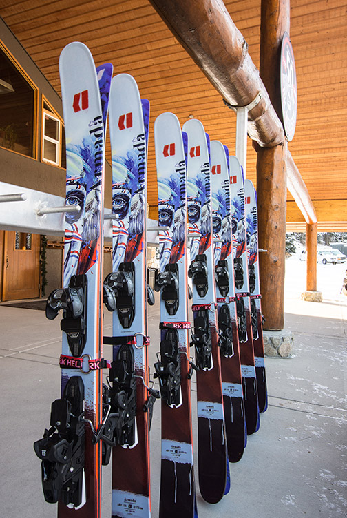 powder skis and snowboards are included in all packages
