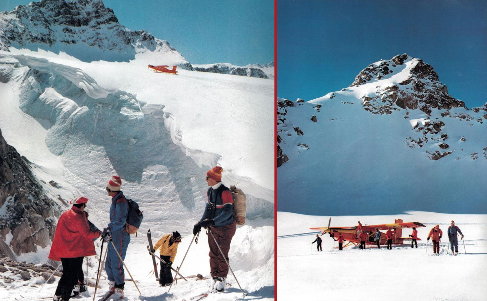 rk heliski using airplanes to access the glaciers skiing