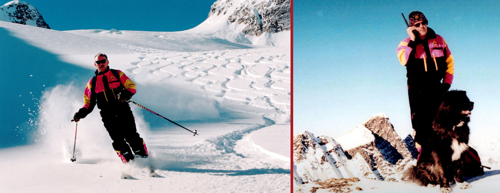 rk heliski founder Roger Madson skiing in deep powder